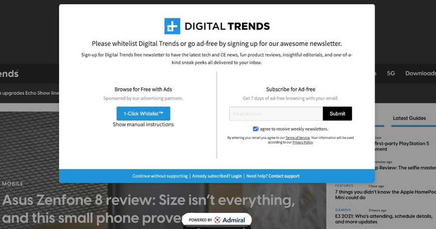 Digital Trends Email Signups and Adblock Recovery with Admiral