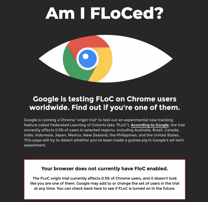 Google Chrome FLoC User Testing Screenshot