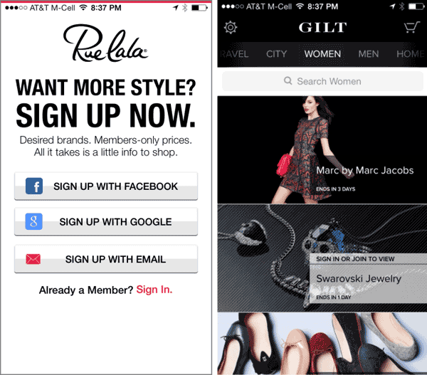 Gilt Registration Wall to drive visitor signups