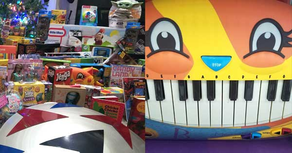 Cat Piano and Admiral Toys for Tots donations