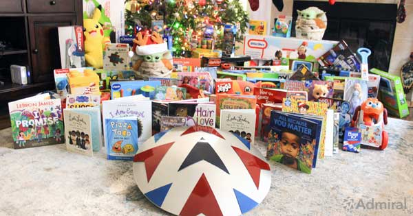 Admiral shield with Toys for Tots donation
