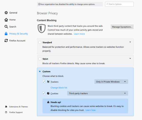 Firefox Enhanced Tracking Protection Settings