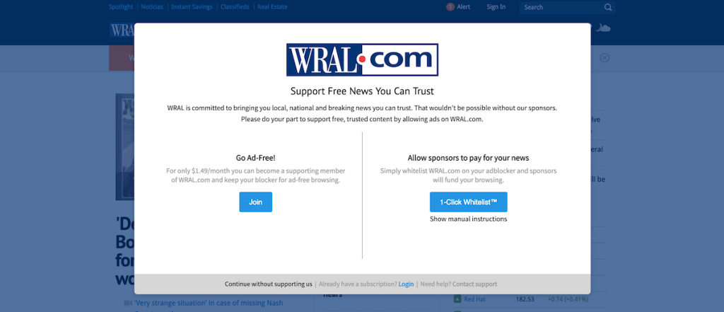 WRAL adblocker engagement Powered by Admiral