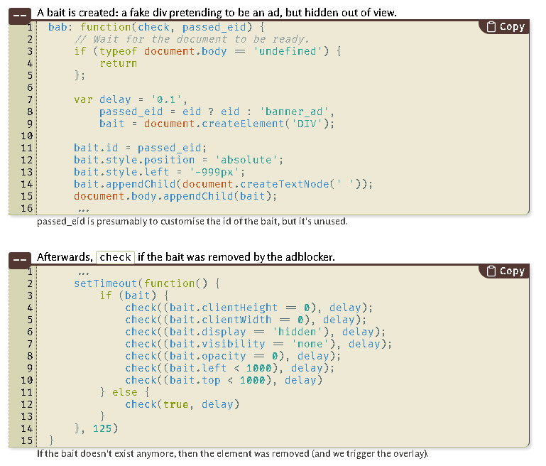 Adblock Detection Script Screen Shot