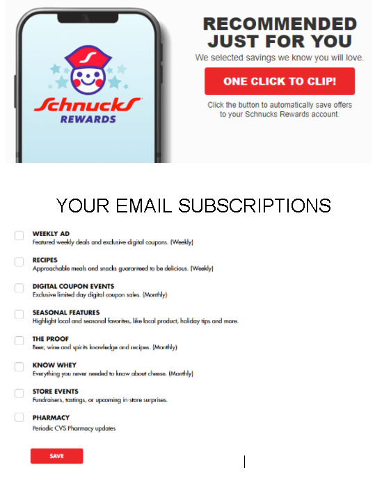 Example of email subscription preferences page